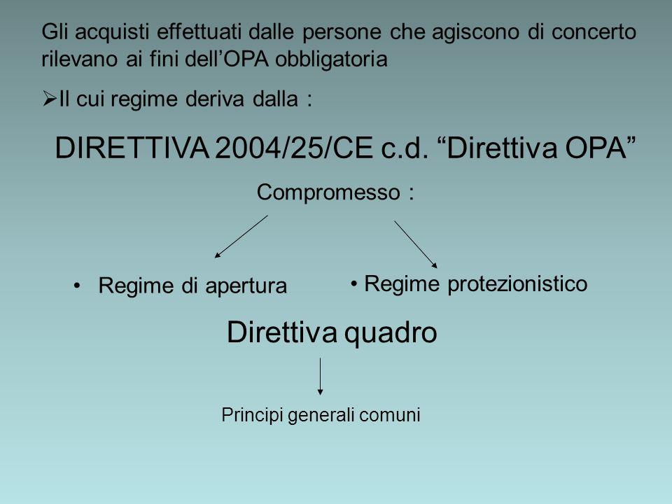 Gli acquisti effettuati dalle persone che agiscono di concerto rilevano ai fini dell OPA obbligatoria Il cui regime deriva dalla : DIRETTIVA 2004/25/CE c.d.