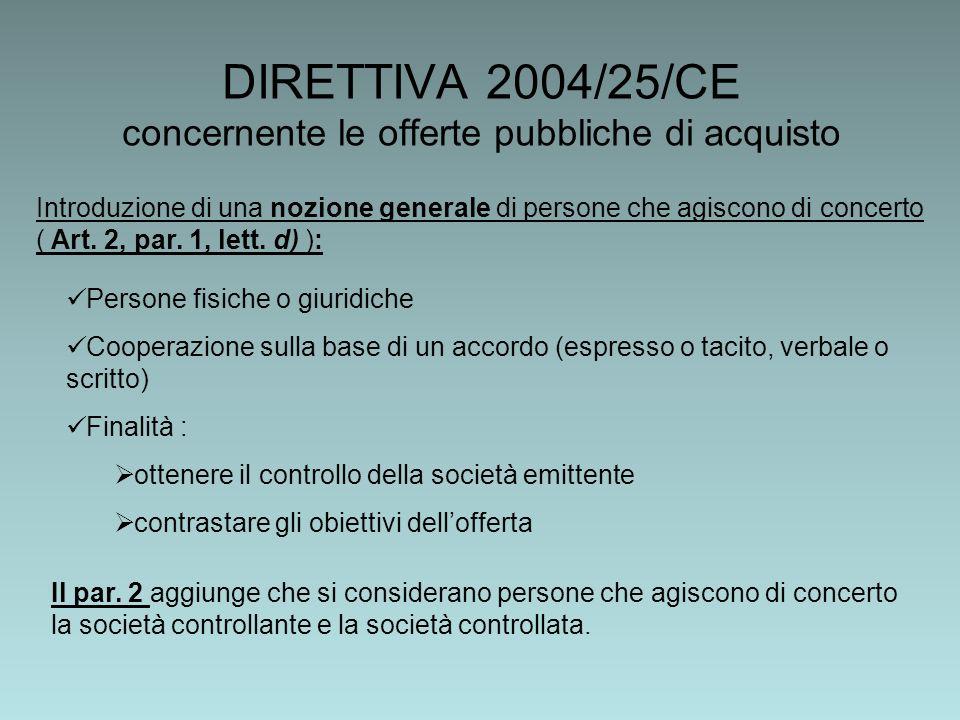 DIRETTIVA 2004/25/CE concernente le offerte pubbliche di acquisto Introduzione di una nozione generale di persone che agiscono di concerto ( Art.