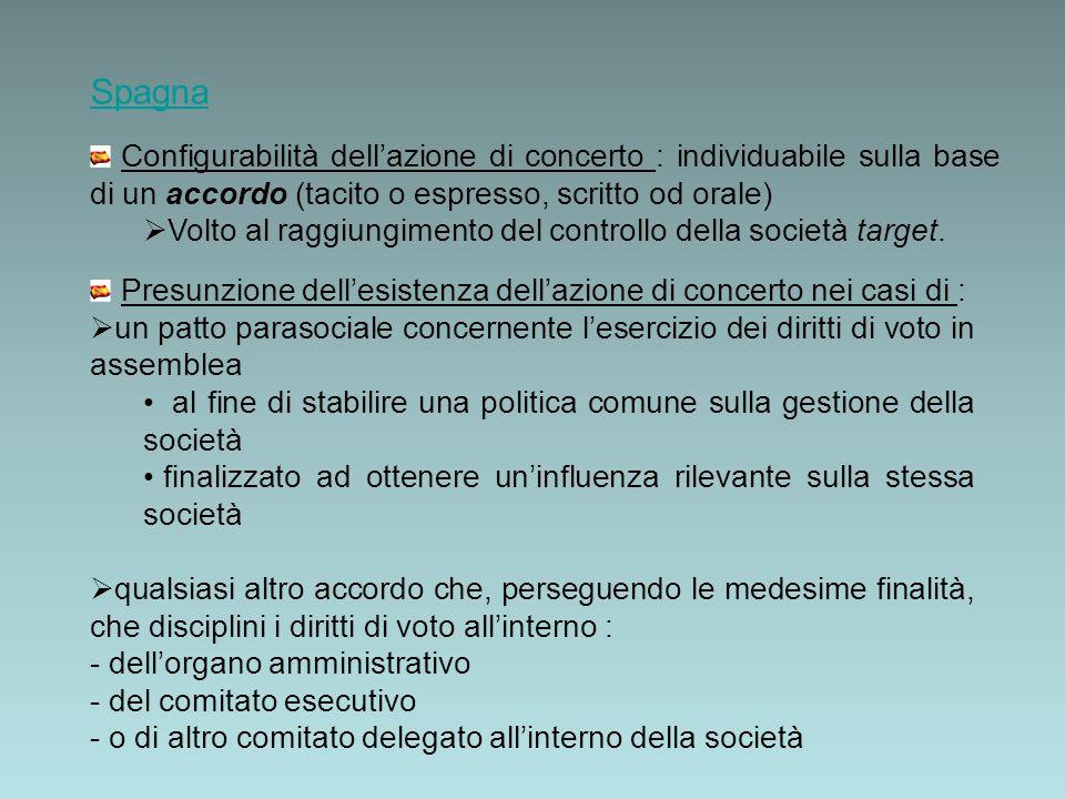 Spagna Configurabilità dellazione di concerto : individuabile sulla base di un accordo (tacito o espresso, scritto od orale) Volto al raggiungimento del controllo della società target.
