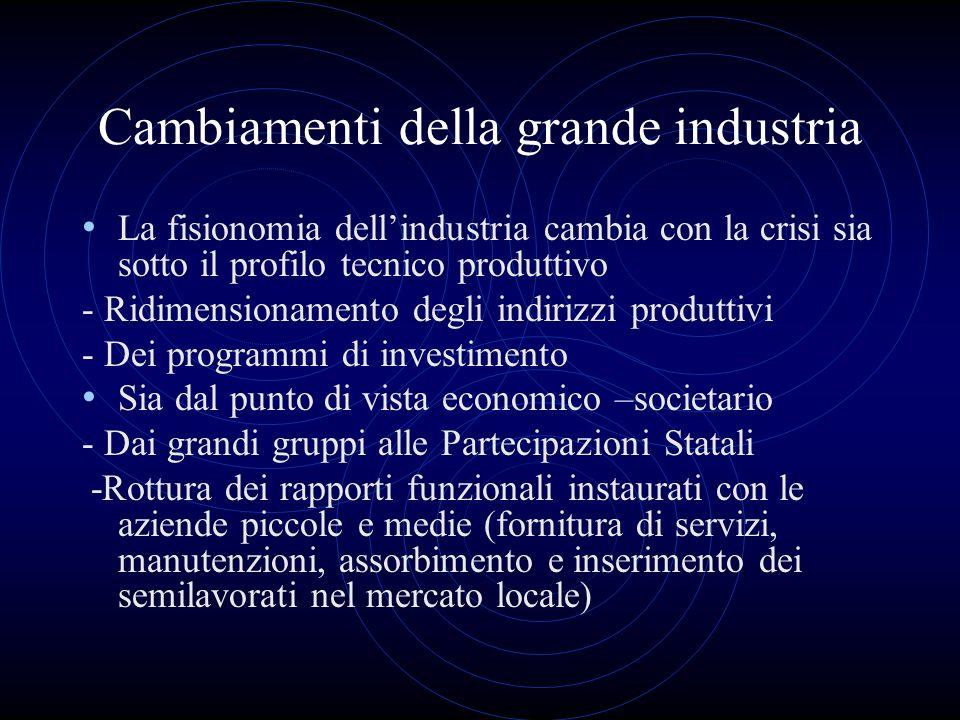 Cambiamenti della grande industria La fisionomia dellindustria cambia con la crisi sia sotto il profilo tecnico produttivo - Ridimensionamento degli i