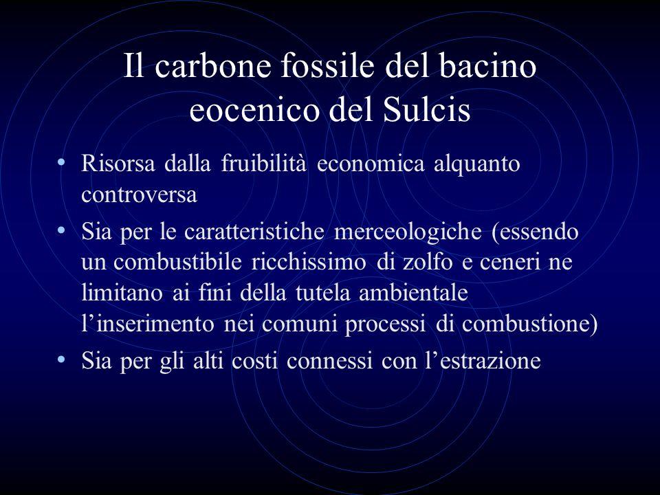 Il carbone fossile del bacino eocenico del Sulcis Risorsa dalla fruibilità economica alquanto controversa Sia per le caratteristiche merceologiche (es