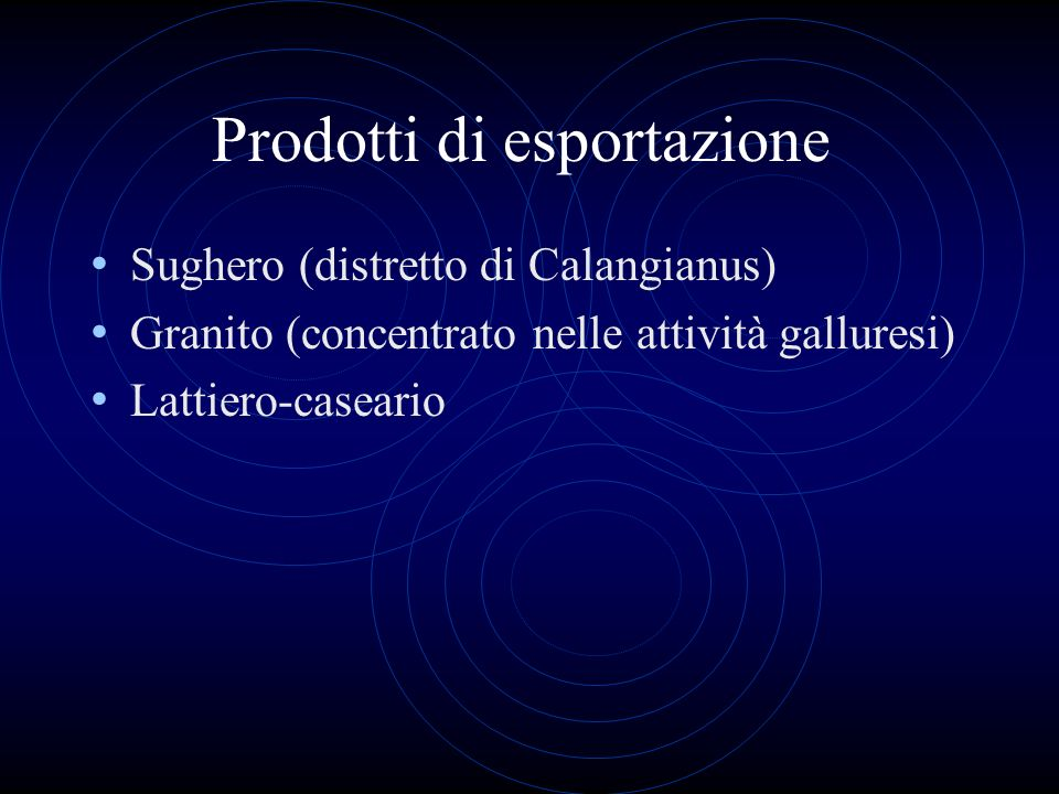 Prodotti di esportazione Sughero (distretto di Calangianus) Granito (concentrato nelle attività galluresi) Lattiero-caseario