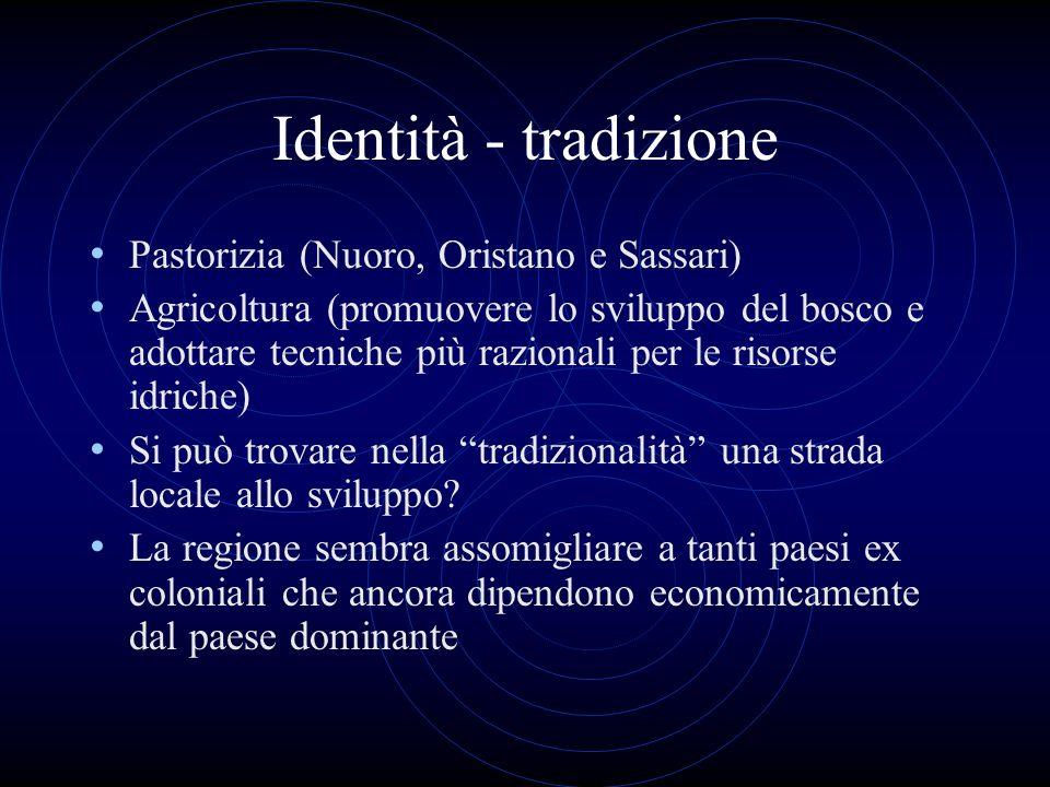 Identità - tradizione Pastorizia (Nuoro, Oristano e Sassari) Agricoltura (promuovere lo sviluppo del bosco e adottare tecniche più razionali per le ri