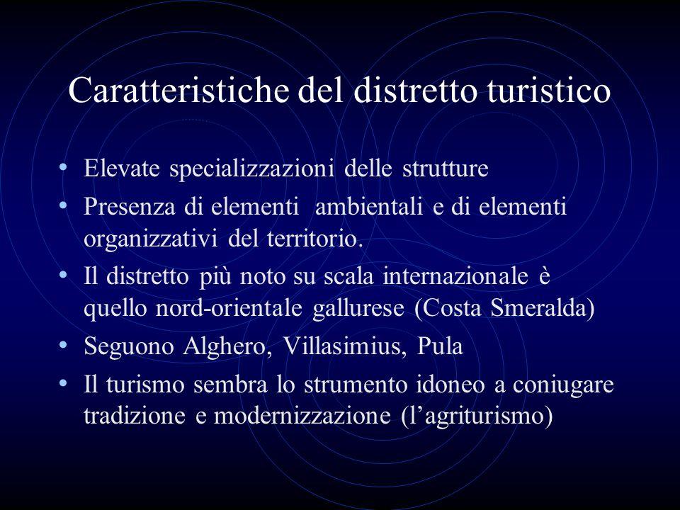 Caratteristiche del distretto turistico Elevate specializzazioni delle strutture Presenza di elementi ambientali e di elementi organizzativi del terri