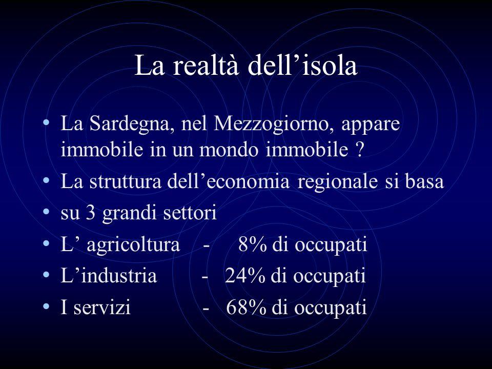 La realtà dellisola La Sardegna, nel Mezzogiorno, appare immobile in un mondo immobile ? La struttura delleconomia regionale si basa su 3 grandi setto