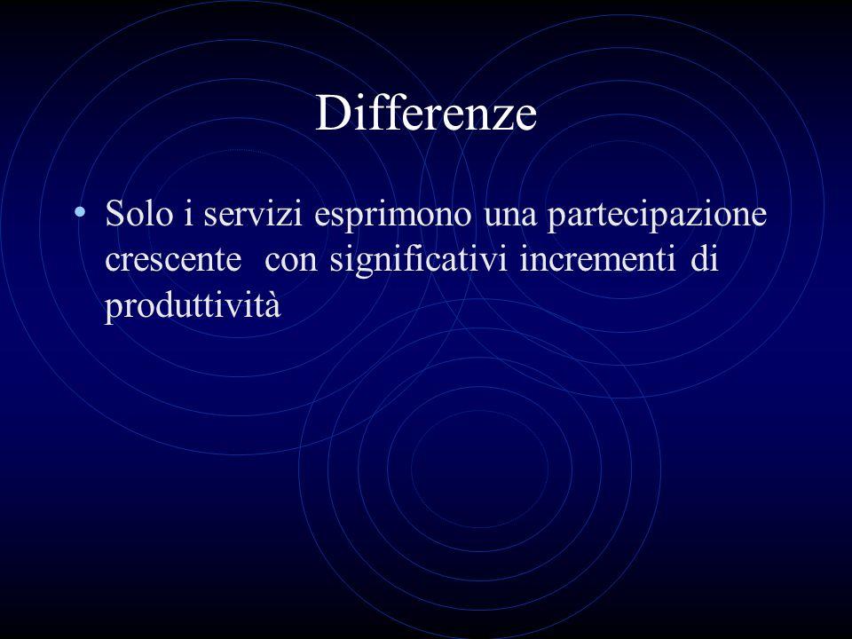 Differenze Solo i servizi esprimono una partecipazione crescente con significativi incrementi di produttività