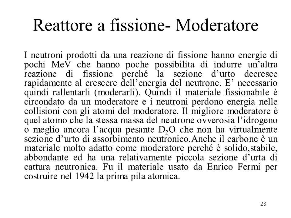 28 Reattore a fissione- Moderatore I neutroni prodotti da una reazione di fissione hanno energie di pochi MeV che hanno poche possibilita di indurre u