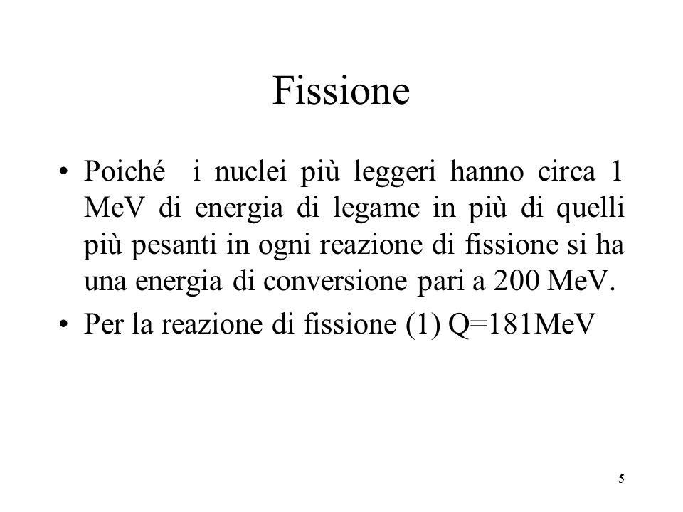 5 Fissione Poiché i nuclei più leggeri hanno circa 1 MeV di energia di legame in più di quelli più pesanti in ogni reazione di fissione si ha una ener