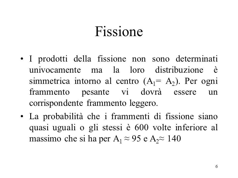 6 Fissione I prodotti della fissione non sono determinati univocamente ma la loro distribuzione è simmetrica intorno al centro (A 1 = A 2 ). Per ogni