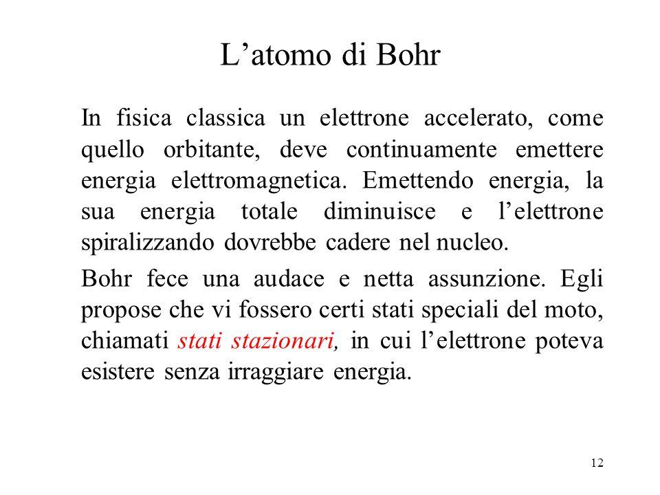 12 Latomo di Bohr In fisica classica un elettrone accelerato, come quello orbitante, deve continuamente emettere energia elettromagnetica. Emettendo e