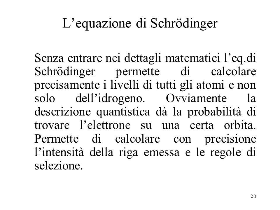20 Lequazione di Schrödinger Senza entrare nei dettagli matematici leq.di Schrödinger permette di calcolare precisamente i livelli di tutti gli atomi