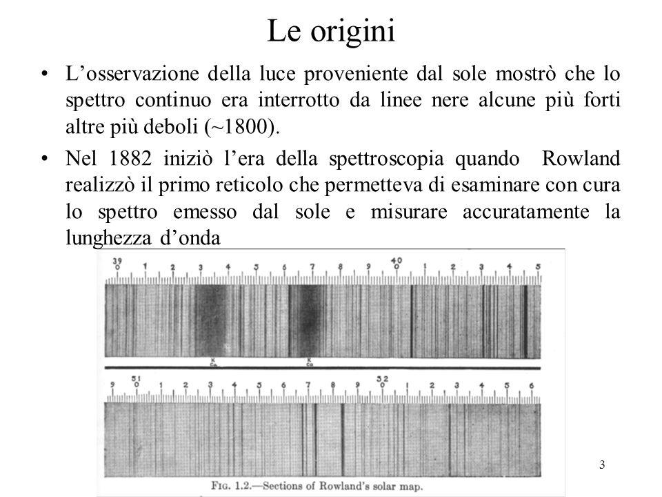 3 Le origini Losservazione della luce proveniente dal sole mostrò che lo spettro continuo era interrotto da linee nere alcune più forti altre più debo