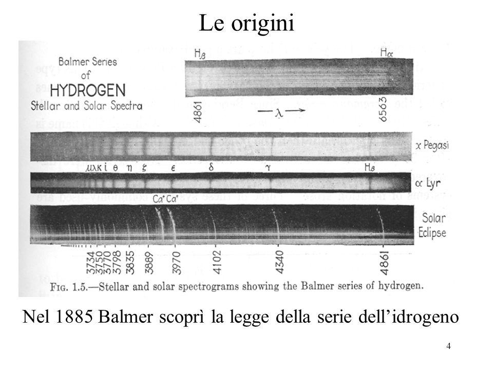 4 Le origini Nel 1885 Balmer scoprì la legge della serie dellidrogeno