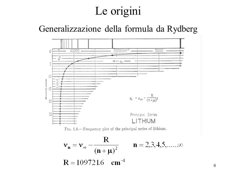 6 Le origini Generalizzazione della formula da Rydberg