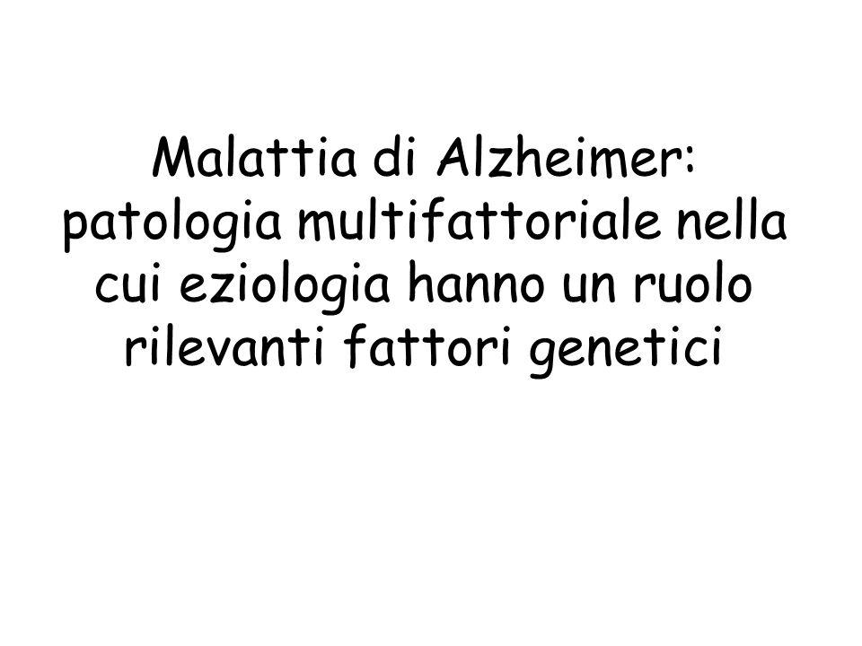 Malattia di Alzheimer: patologia multifattoriale nella cui eziologia hanno un ruolo rilevanti fattori genetici