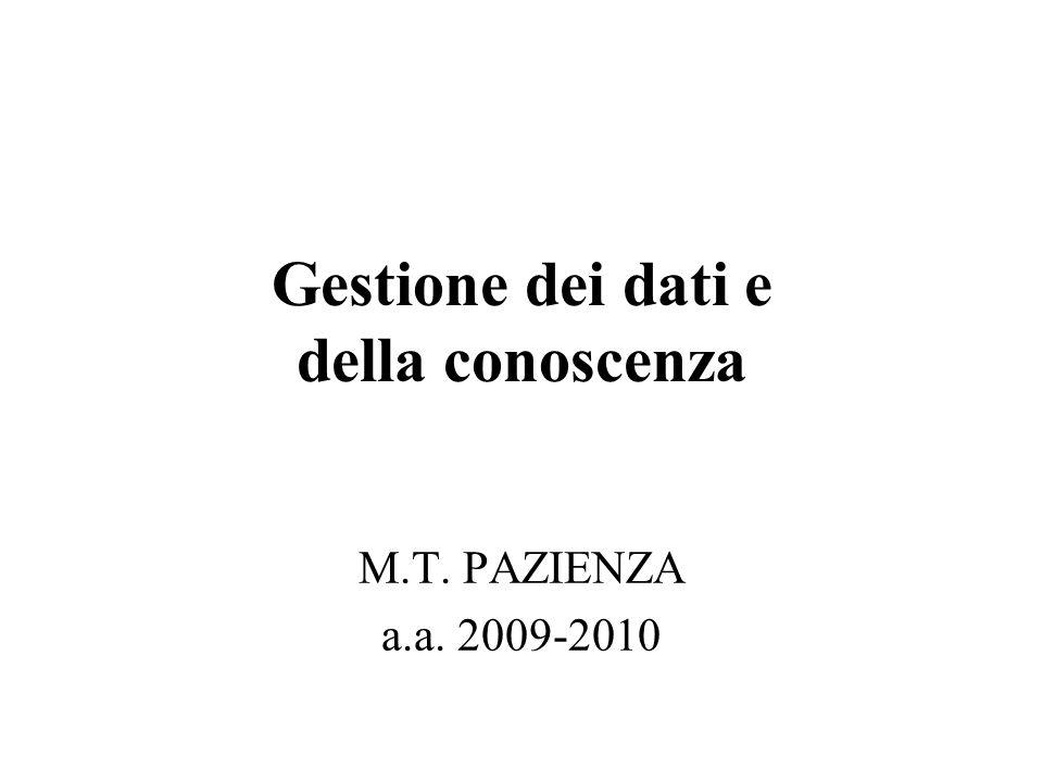 Gestione dei dati e della conoscenza M.T. PAZIENZA a.a. 2009-2010