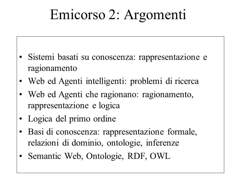 Emicorso 2: Argomenti Sistemi basati su conoscenza: rappresentazione e ragionamento Web ed Agenti intelligenti: problemi di ricerca Web ed Agenti che ragionano: ragionamento, rappresentazione e logica Logica del primo ordine Basi di conoscenza: rappresentazione formale, relazioni di dominio, ontologie, inferenze Semantic Web, Ontologie, RDF, OWL