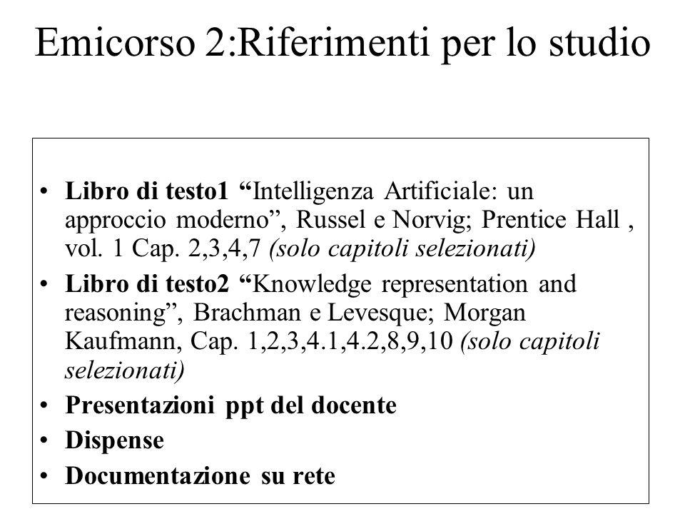 Emicorso 2:Riferimenti per lo studio Libro di testo1 Intelligenza Artificiale: un approccio moderno, Russel e Norvig; Prentice Hall, vol.