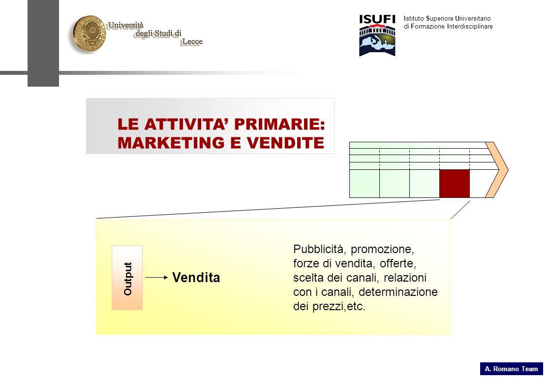A. Romano Team Istituto Superiore Universitario di Formazione Interdisciplinare LE ATTIVITA PRIMARIE: MARKETING E VENDITE Output Pubblicità, promozion