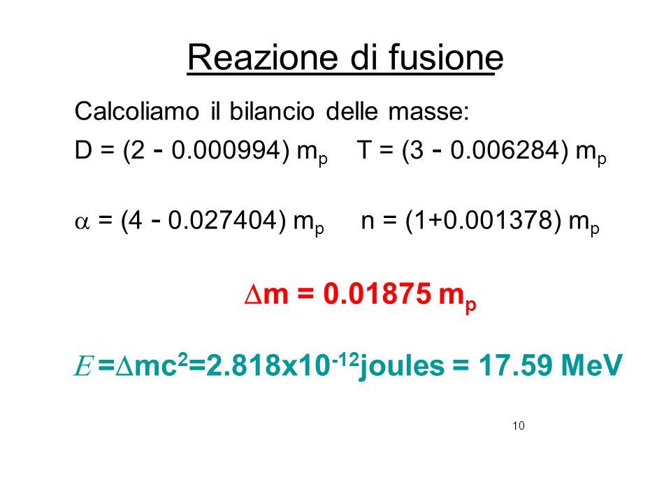 10 Reazione di fusione Calcoliamo il bilancio delle masse: D = (2 - 0.000994) m p T = (3 - 0.006284) m p = (4 - 0.027404) m p n = (1+0.001378) m p m =