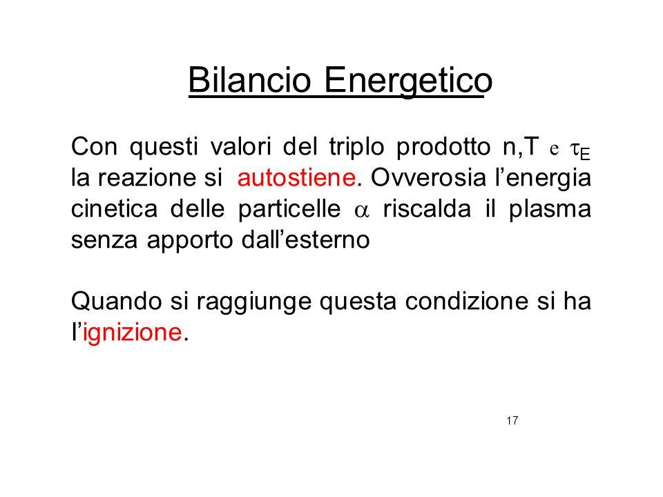 17 Bilancio Energetico Con questi valori del triplo prodotto n,T e E la reazione si autostiene. Ovverosia lenergia cinetica delle particelle riscalda
