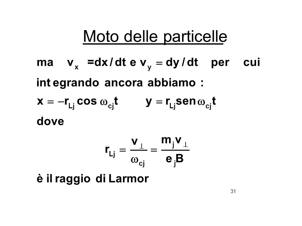 31 Moto delle particelle Larmordiraggioilè Be vm v r dove tsenrytcosrx :abbiamoancoraegrandoint cuiperdt/dyvedt/=dxvma j j cj Lj cjLjcjLj yx