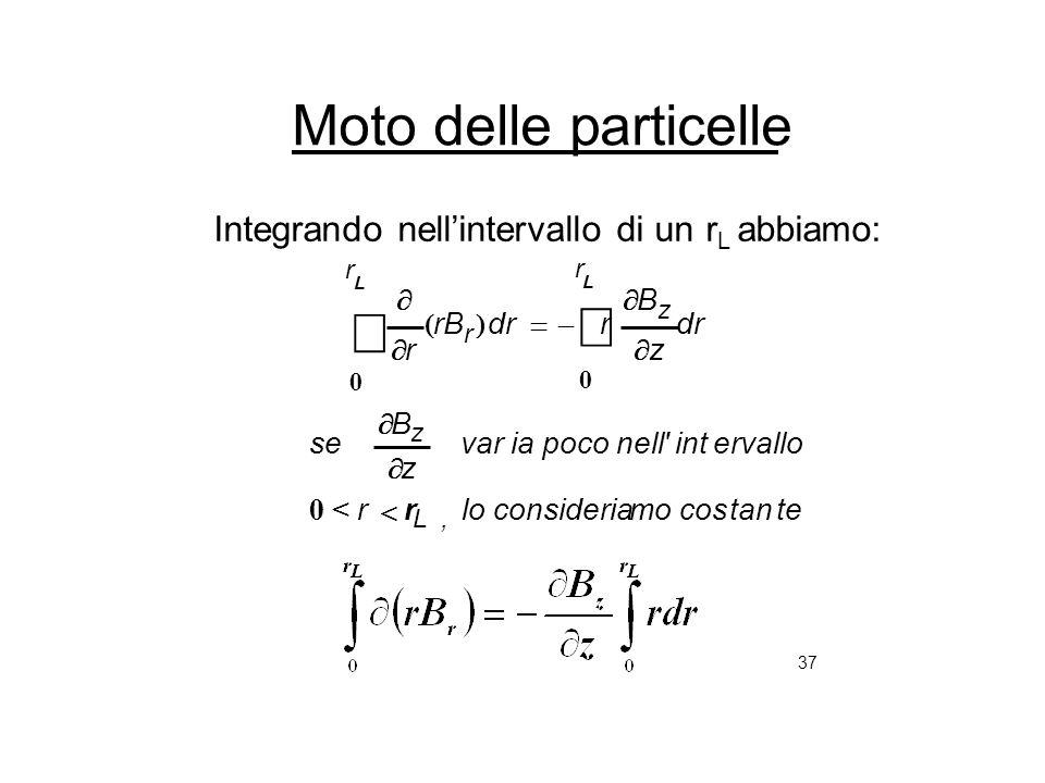 37 Moto delle particelle Integrando nellintervallo di un r L abbiamo: tetancosmoconsiderialor ervalloint'nellpocoiavar z B se L, z 0 < r dr z B r rB r
