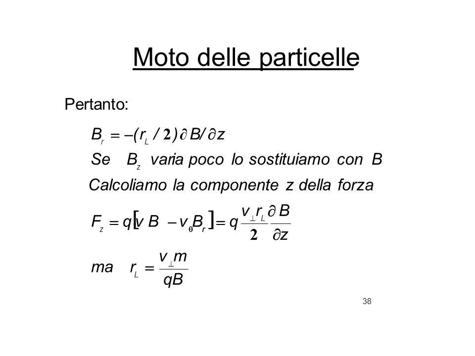 38 Moto delle particelle Pertanto: qB mv rma z Brv qBvBvqF la componente z della forzaCalcoliamo B lo sostituiamo conpocoia varBSe z/ B)/r(B L L rz z