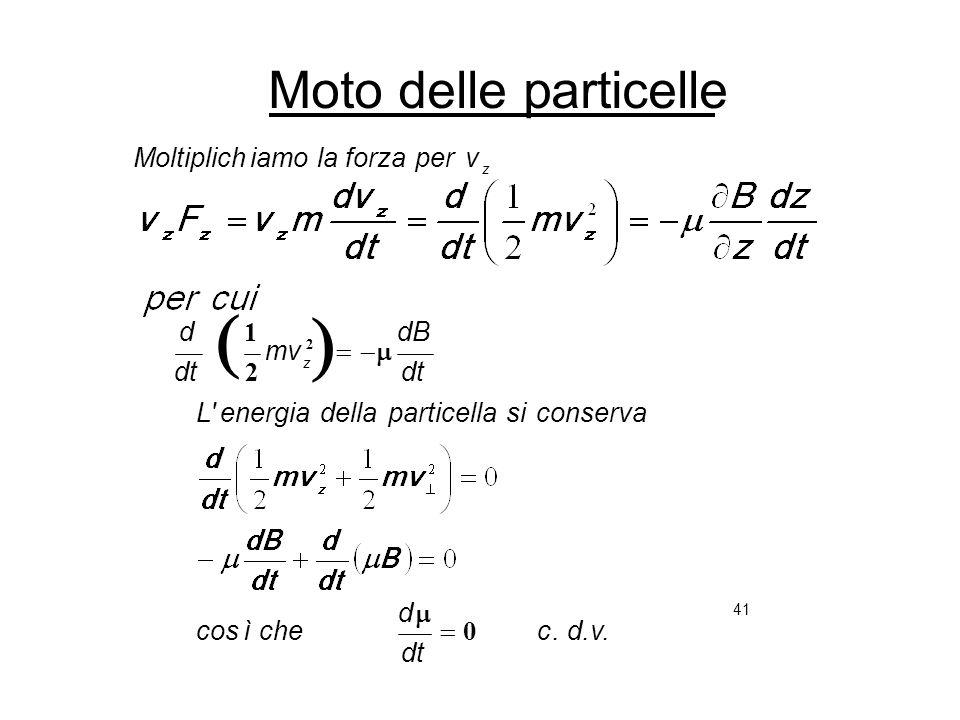 41 Moto delle particelle. d.v.c dt d cheìcos conservasiparticelladellaenergia'L dt dB mv dt d v z perforzalaiamoMoltiplich z 0 2 1 2
