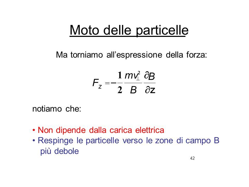 42 Moto delle particelle Ma torniamo allespressione della forza: z notiamo che: Non dipende dalla carica elettrica Respinge le particelle verso le zon