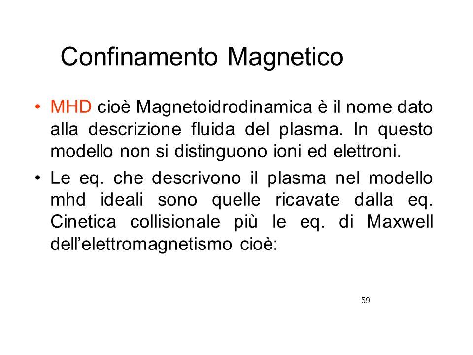 59 Confinamento Magnetico MHD cioè Magnetoidrodinamica è il nome dato alla descrizione fluida del plasma. In questo modello non si distinguono ioni ed