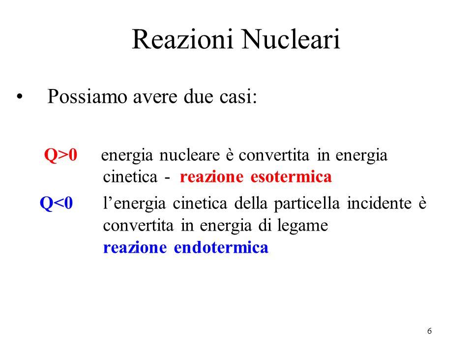 6 Reazioni Nucleari Possiamo avere due casi: Q>0 energia nucleare è convertita in energia cinetica - reazione esotermica Q<0lenergia cinetica della pa