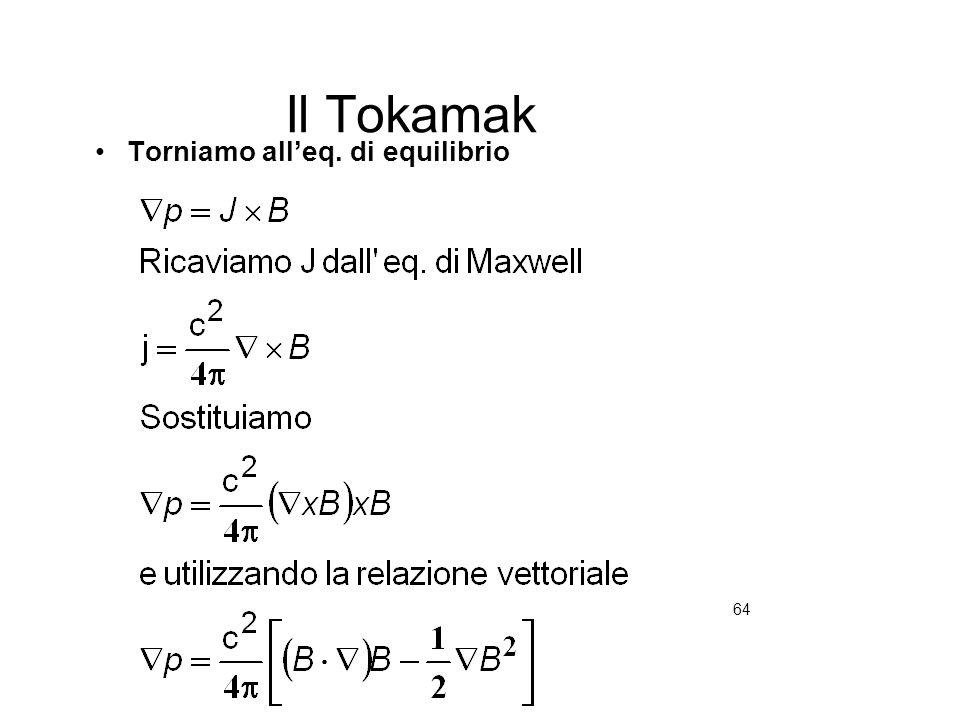 64 Il Tokamak Torniamo alleq. di equilibrio