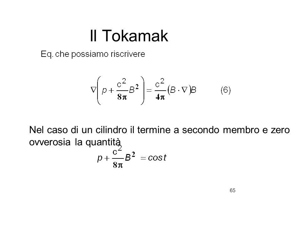 65 Il Tokamak Nel caso di un cilindro il termine a secondo membro e zero ovverosia la quantità