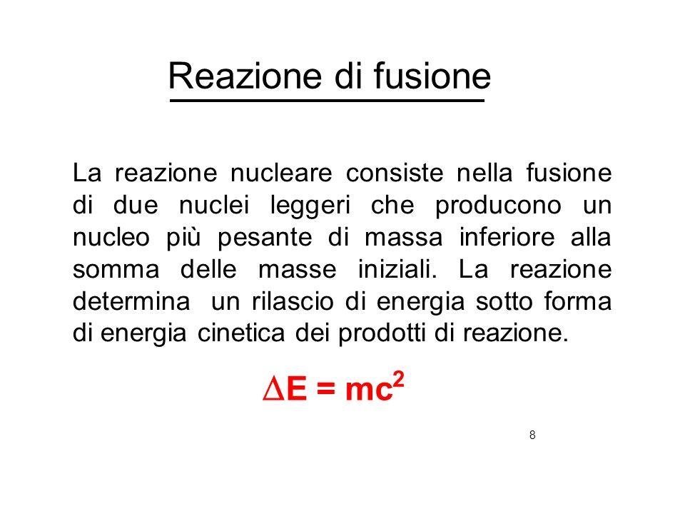 8 Reazione di fusione La reazione nucleare consiste nella fusione di due nuclei leggeri che producono un nucleo più pesante di massa inferiore alla so