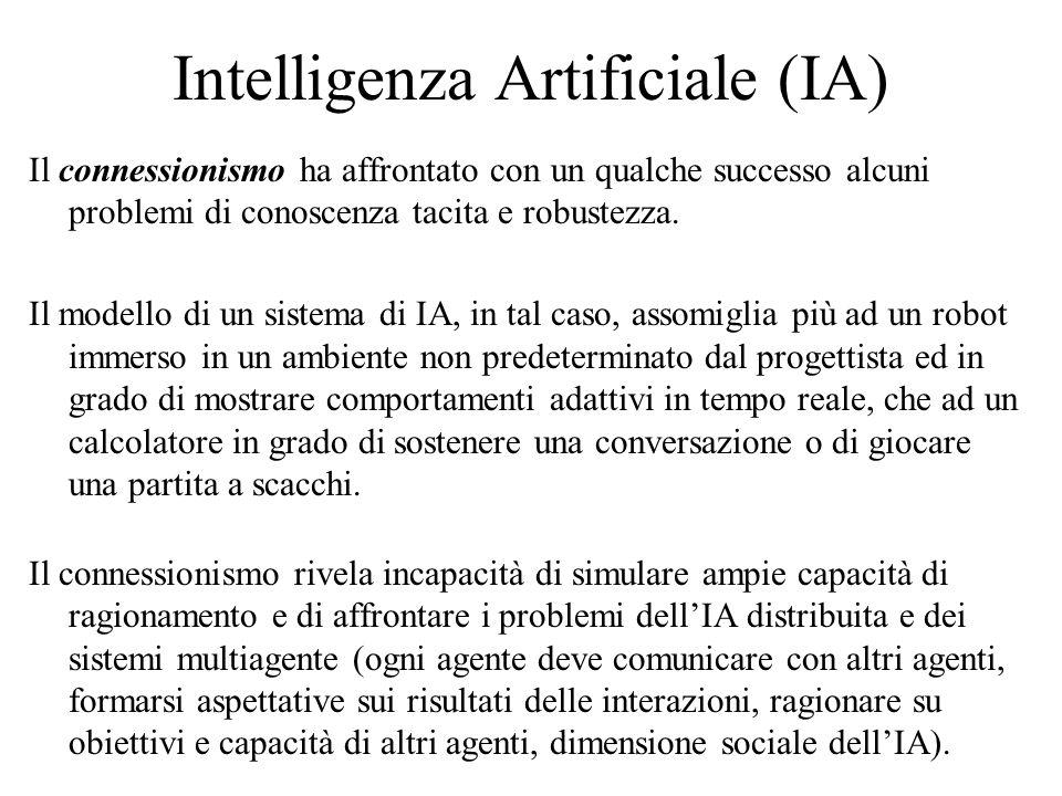 Intelligenza Artificiale (IA) Il connessionismo ha affrontato con un qualche successo alcuni problemi di conoscenza tacita e robustezza. Il modello di