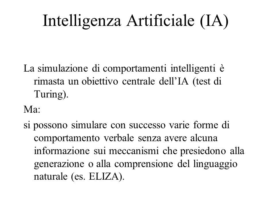 Intelligenza Artificiale (IA) La simulazione di comportamenti intelligenti è rimasta un obiettivo centrale dellIA (test di Turing). Ma: si possono sim