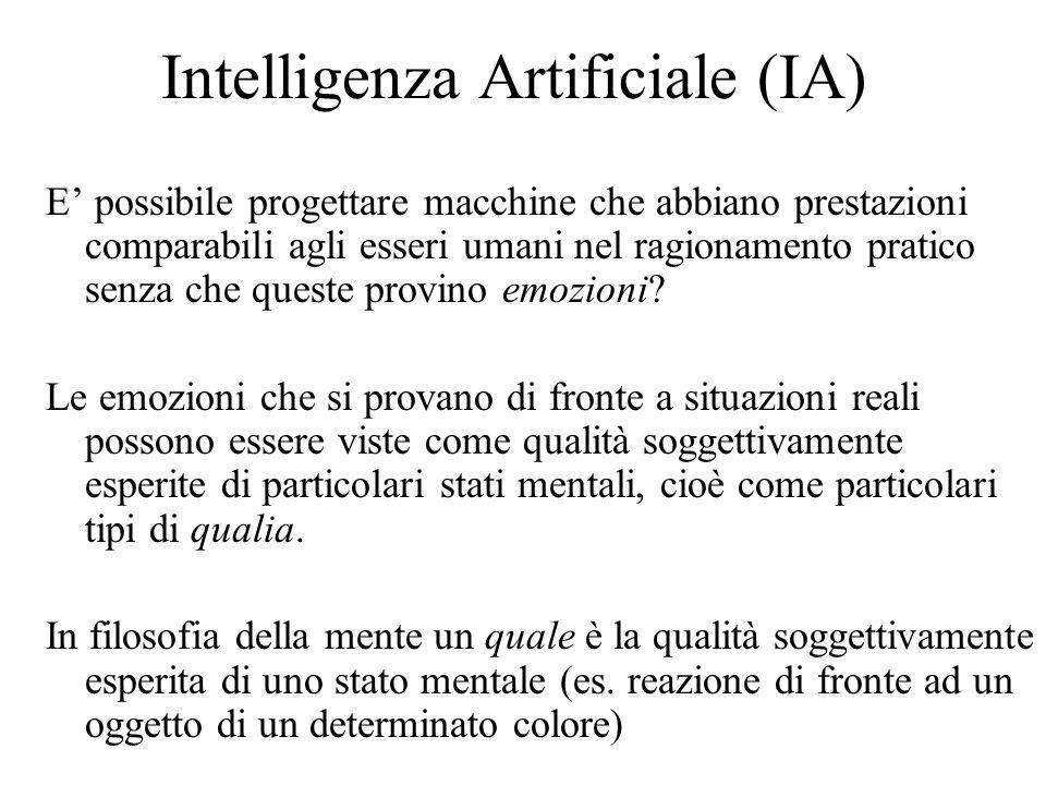 Intelligenza Artificiale (IA) E possibile progettare macchine che abbiano prestazioni comparabili agli esseri umani nel ragionamento pratico senza che