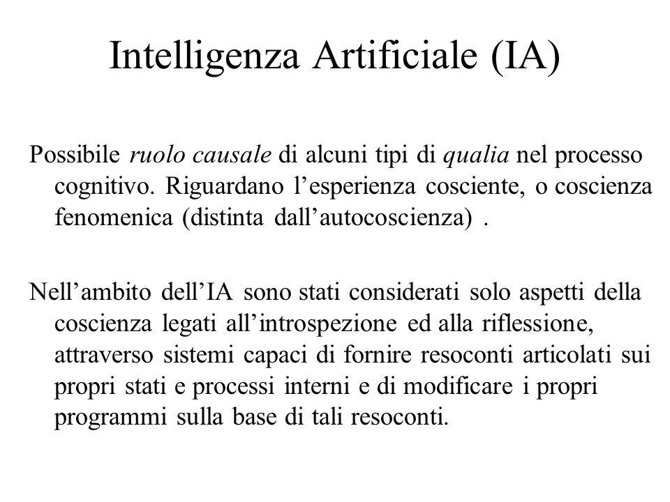 Intelligenza Artificiale (IA) Possibile ruolo causale di alcuni tipi di qualia nel processo cognitivo. Riguardano lesperienza cosciente, o coscienza f