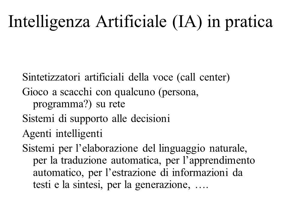 Intelligenza Artificiale (IA) in pratica Sintetizzatori artificiali della voce (call center) Gioco a scacchi con qualcuno (persona, programma?) su ret