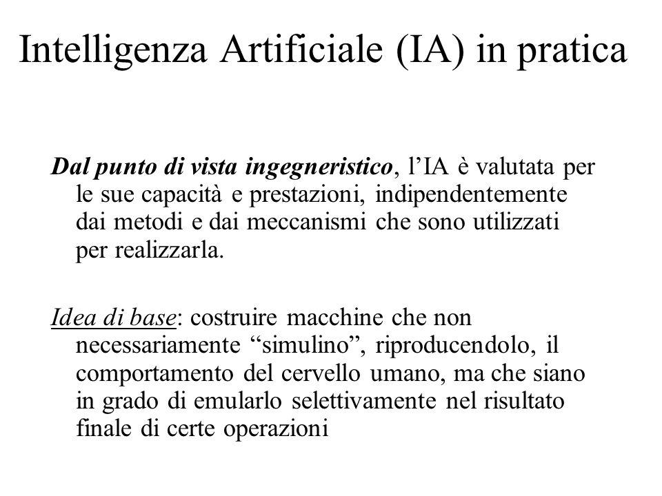 Intelligenza Artificiale (IA) in pratica Dal punto di vista ingegneristico, lIA è valutata per le sue capacità e prestazioni, indipendentemente dai me