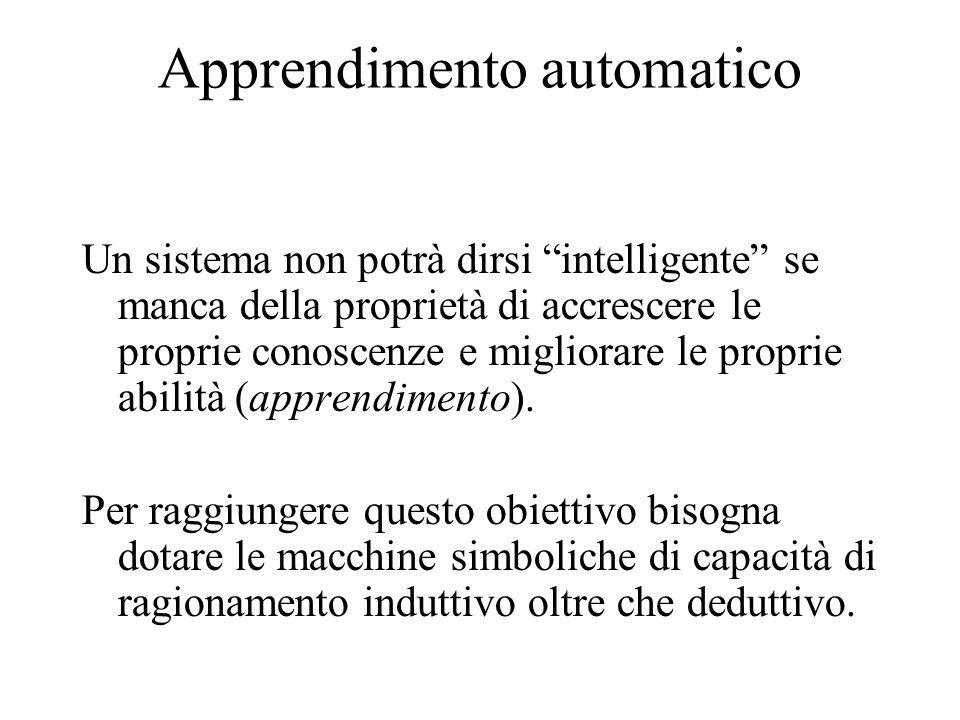 Apprendimento automatico Un sistema non potrà dirsi intelligente se manca della proprietà di accrescere le proprie conoscenze e migliorare le proprie