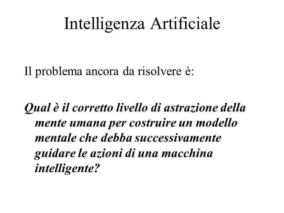 Intelligenza Artificiale Il problema ancora da risolvere è: Qual è il corretto livello di astrazione della mente umana per costruire un modello mental