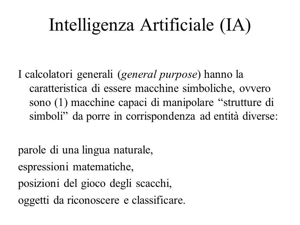 Intelligenza Artificiale (IA) I calcolatori generali (general purpose) hanno la caratteristica di essere macchine simboliche, ovvero sono (1) macchine