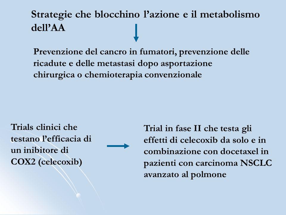 Strategie che blocchino lazione e il metabolismo dellAA Prevenzione del cancro in fumatori, prevenzione delle ricadute e delle metastasi dopo asportaz