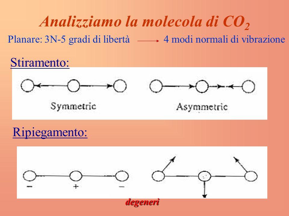 Analizziamo la molecola di CO 2 Stiramento: Planare: 3N-5 gradi di libertà 4 modi normali di vibrazione Ripiegamento: degeneri