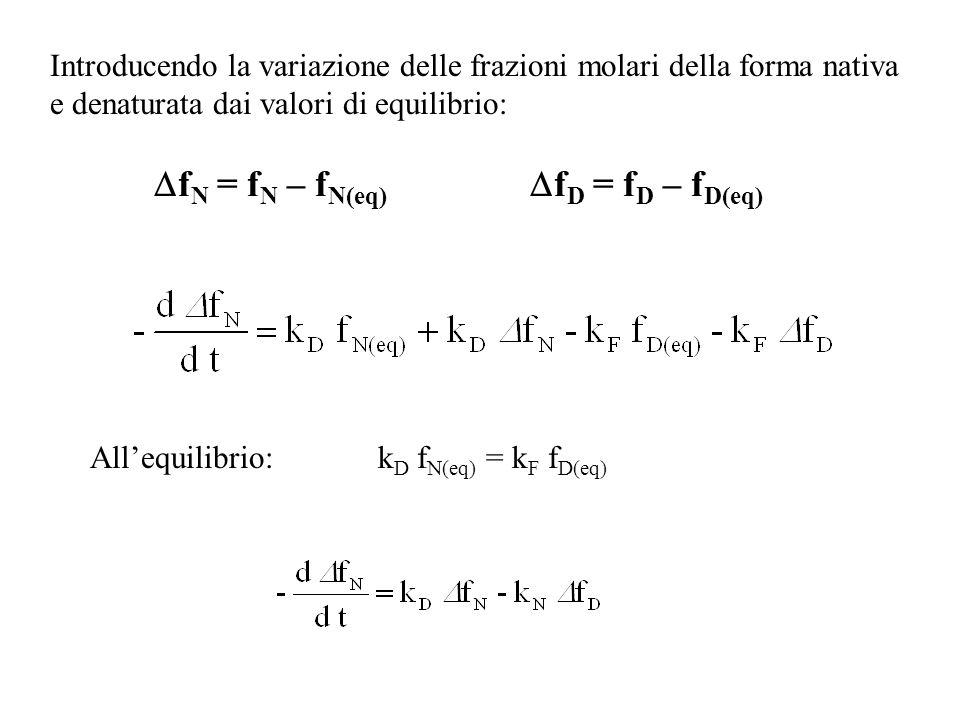 Introducendo la variazione delle frazioni molari della forma nativa e denaturata dai valori di equilibrio: f N = f N – f N(eq) f D = f D – f D(eq) All