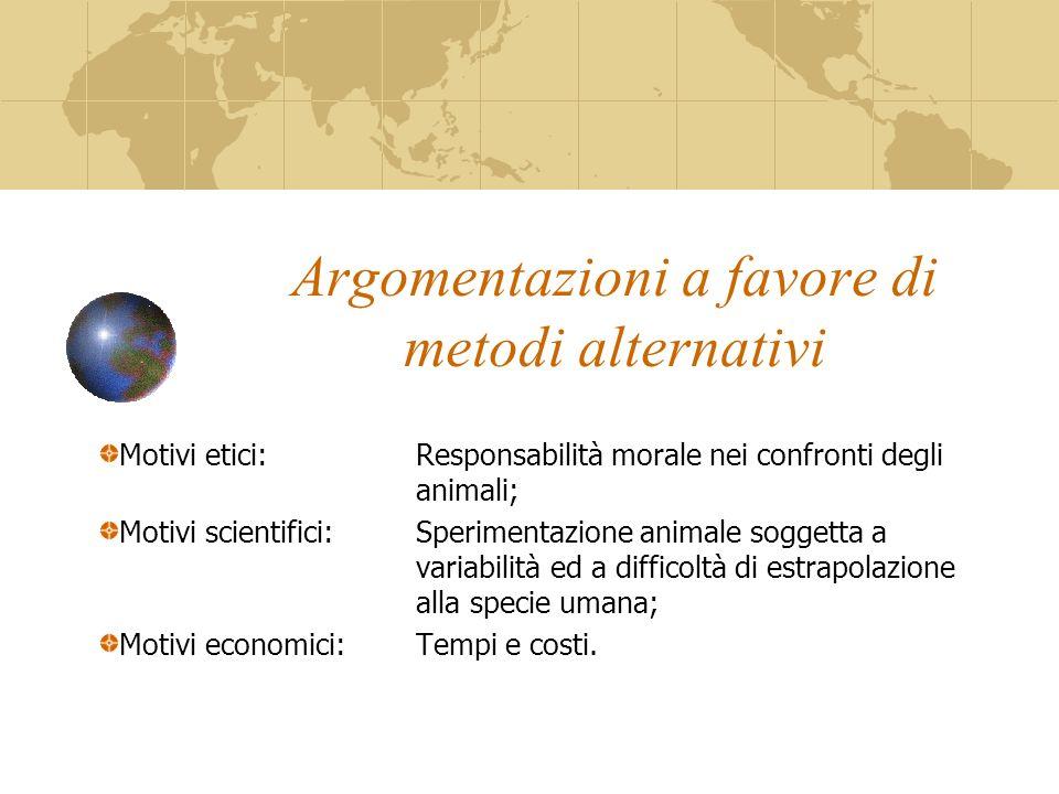 Argomentazioni a favore di metodi alternativi Motivi etici:Responsabilità morale nei confronti degli animali; Motivi scientifici:Sperimentazione anima