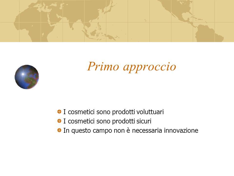 Primo approccio I cosmetici sono prodotti voluttuari I cosmetici sono prodotti sicuri In questo campo non è necessaria innovazione