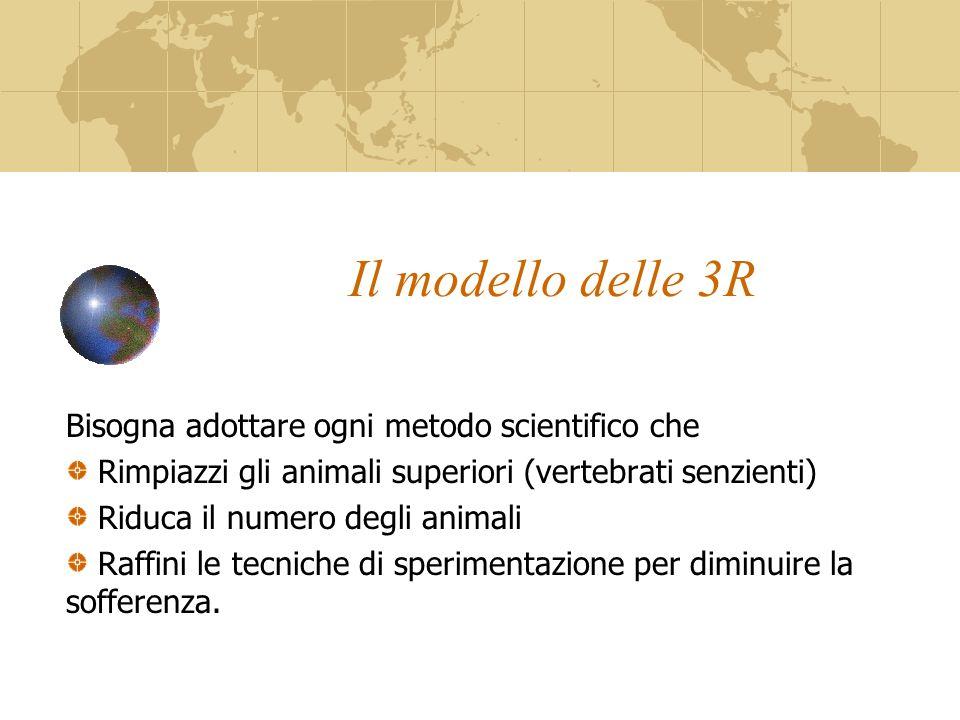 Il modello delle 3R Bisogna adottare ogni metodo scientifico che Rimpiazzi gli animali superiori (vertebrati senzienti) Riduca il numero degli animali